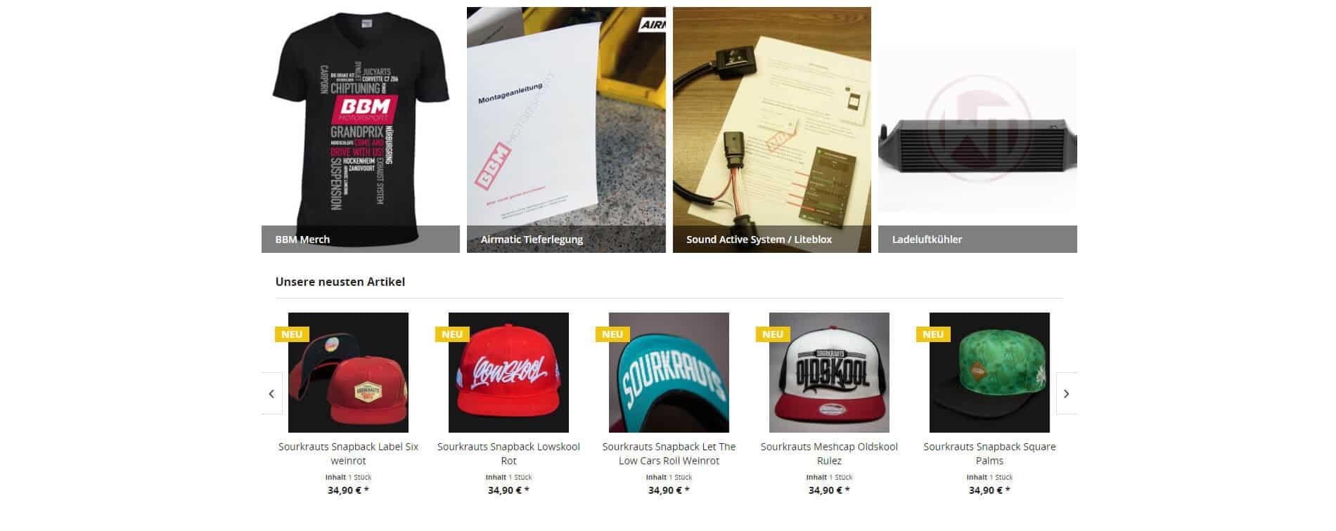 BBM Motorsport Shop Produkte