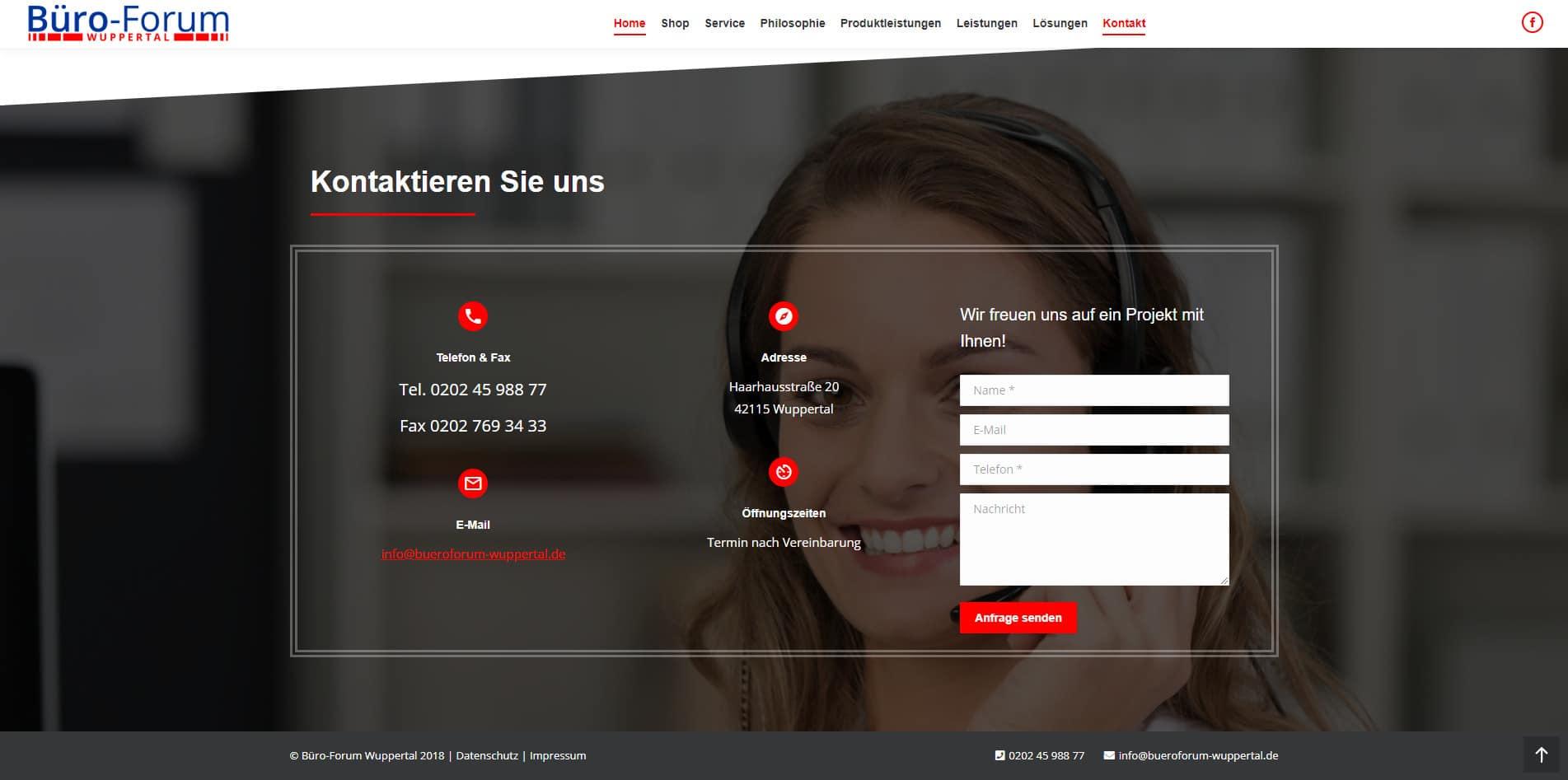 WordPress Website Büro-Forum Wuppertal